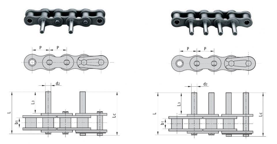 Fabricación a medida de cadenas con ejes prolongados